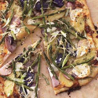 Asparagus, Fingerling Potato, and Goat Cheese Pizza.