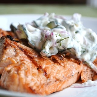 Grilled Salmon with Cucumber Dill Sauce.