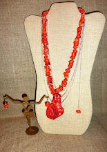 Photo: <BEREHYNYA> {Great Goddess Protectress} unique one-of-a-kind statement jewellery by Luba Bilash ART & ADORNMENT  # 133 PROTEUS ~ ПРОТЕЙ - coral pendant, coral, silver plate $150/set SOLD/ПРОДАНИЙ