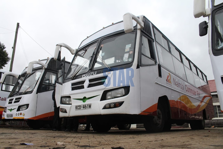 Part of the fleet of the new Commuter Rail Buses at the Nairobi Central Railway Station.