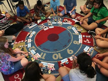 Russian students learning family vocabulary in circle time