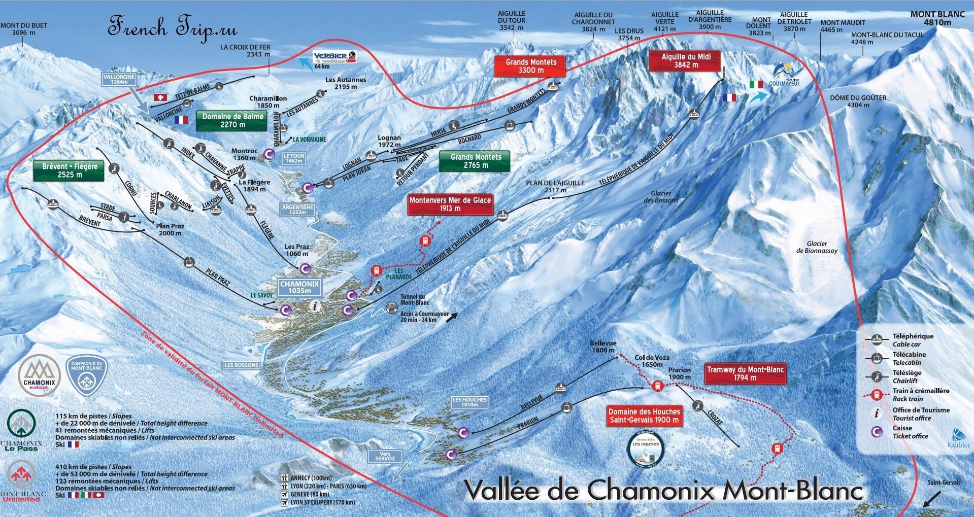 Горнолыжный курорт Шамони-Монблан: зоны катания на горных лыжах