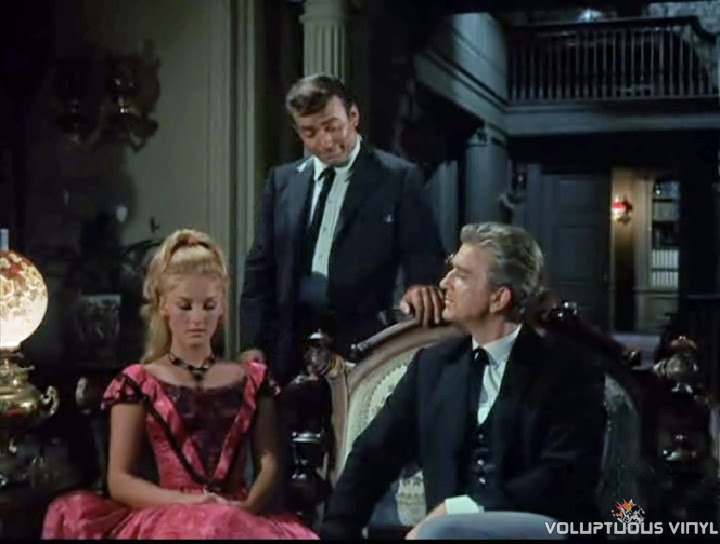 Barbara Bouchet, James Drury and Leslie Nielsen in The Virginian