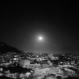 Black and white city by Hayley Moortele - Black & White Landscapes ( #landscape, #city, #night, #moon, #lights )