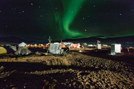 The Northern Lights dance above a base camp at Torngat Mountains National Park in northern Newfoundland and Labrador.