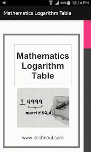 Mathematics Logarithm Table - náhled