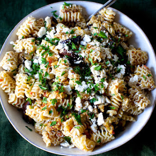Charred Eggplant and Walnut Pesto Pasta Salad