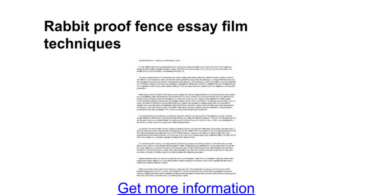 rabbit proof fence essay film techniques google docs