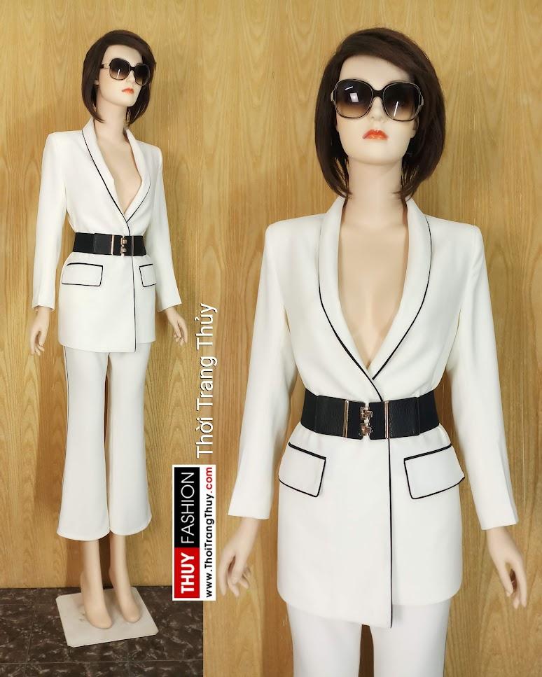 Áo blazer nữ thắt đai eo và quần ống vẩy trắng đen V662 hải phòng