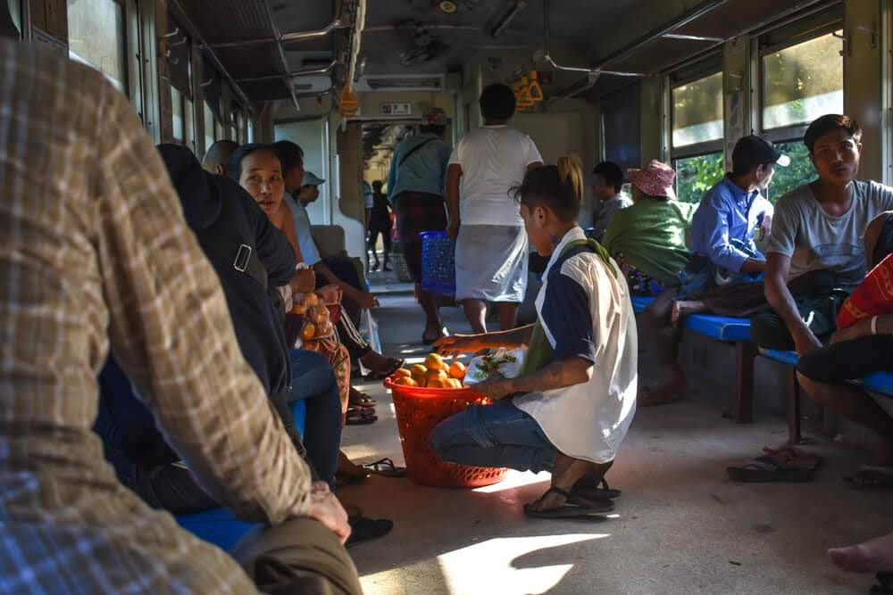 fruit seller circle line train yangon