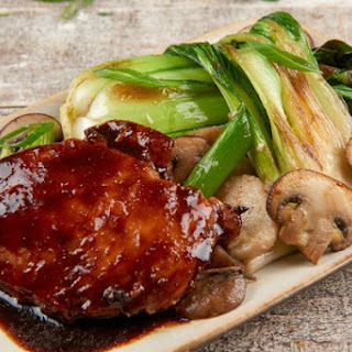 Teriyaki Chicken with baby bok choy and cremini mushroom stir-fry