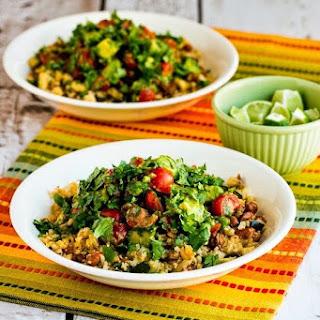 Cauliflower Rice and Pinto Bean Vegan Burrito Bowl.