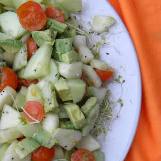 Pear-Cucumber-Tomato-Avocado Salad.