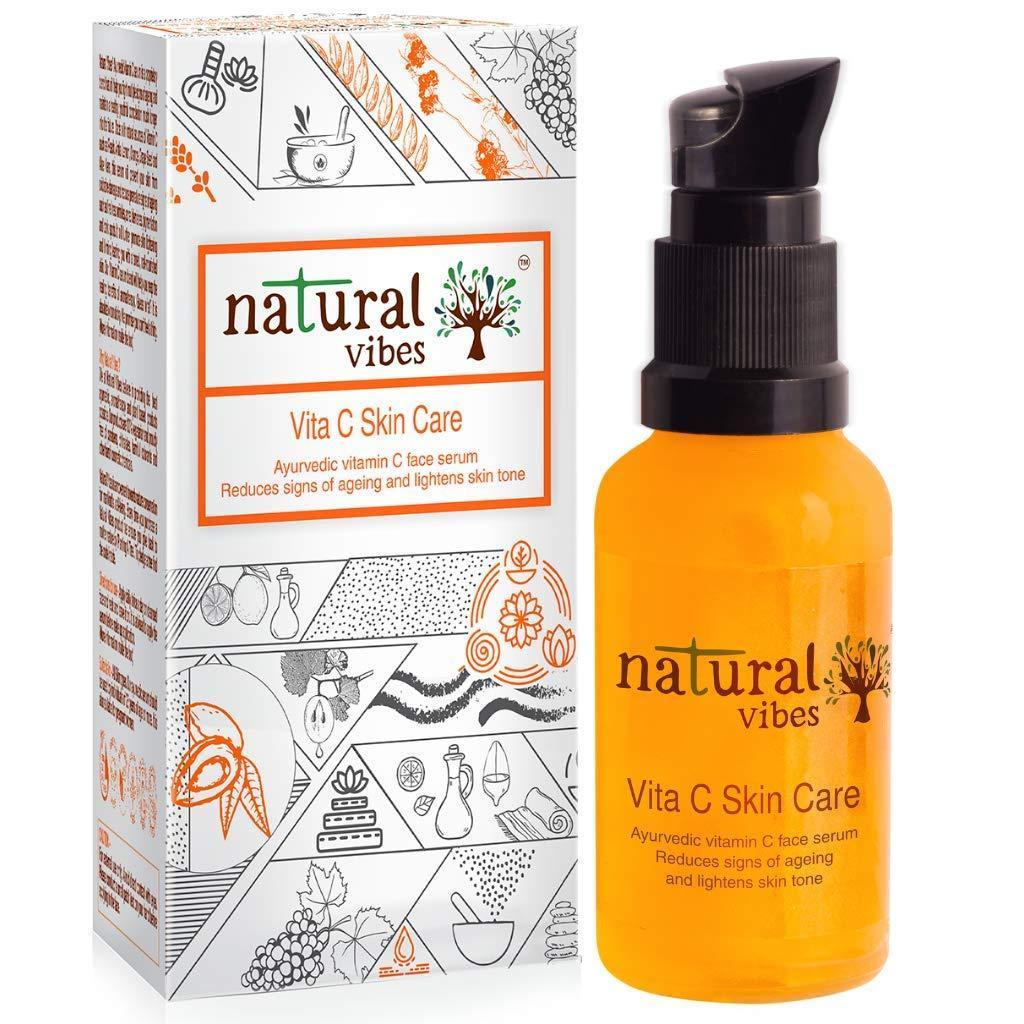 Natural Vibes Ayurvedic Vitamin C Skin Care Face Serum || Skin Brightening  - Reduces Acne & Dark Spots - Anti Ageing - Glowing skin || Paraben &  Silicone Free: Amazon.in: Beauty