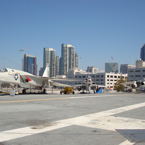 San Diego by Yury Tomashevich - City,  Street & Park  Neighborhoods ( san diego, airplanes, america, cities, airplane, cityscape, military, city,  )