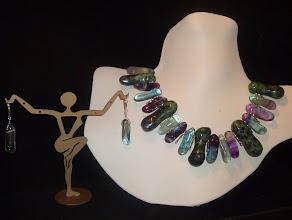 Photo: <BEREHYNYA> {Great Goddess Protectress} unique one-of-a-kind statement jewellery by Luba Bilash ART & ADORNMENT  AURORA BOREALIS - ПІВНІЧНЕ СЯЙВО - zoisite, fluorite, amethyst, SS, silver plate SOLD/ПРОДАНИЙ