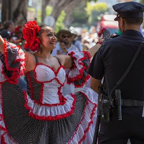 Dancing In The Street Carnaval SF by Janet Marsh - People Musicians & Entertainers ( police, carnaval, dancer,  )