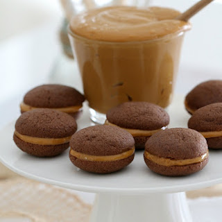 Caramel Filled Chocolate Biscuits - Conventional Method.