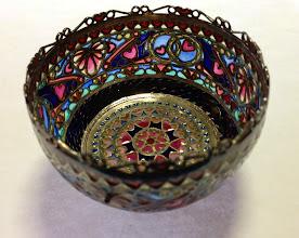 Photo: Plique-à-Jour Enamels by Diane Echnoz Almeyda - Intertwined Bowl - Fine Silver, Plique-à-Jour Enamels - Approximate size 44mm (h) x 67mm (diam) - $5200.00 US