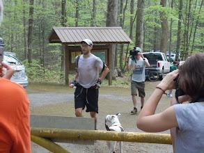 Photo: Brett breaking the course record.