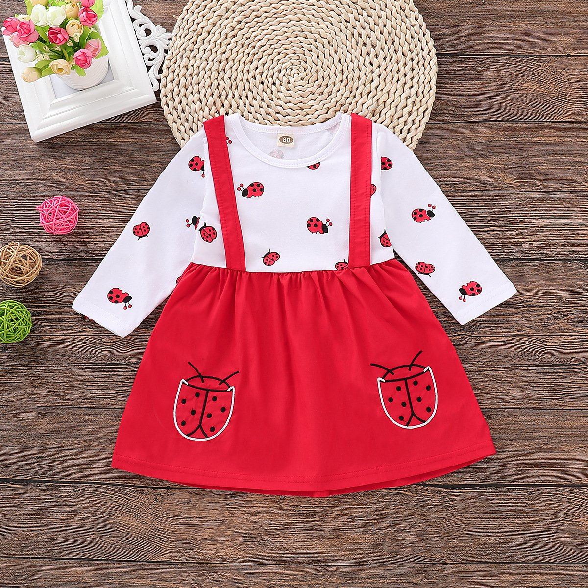First Day of Kindergarten - Ladybug Long-Sleeved Dress With Suspenders