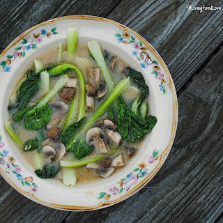Vegan Miso Soup with Bok Choy and Mushrooms.