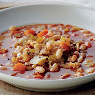 White Bean and Chorizo Soup with Crostini