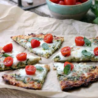 Gluten-Free Cauliflower Crust Pesto Pizza.