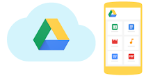 Drive in the Cloud, beside a mobile device with Drive files