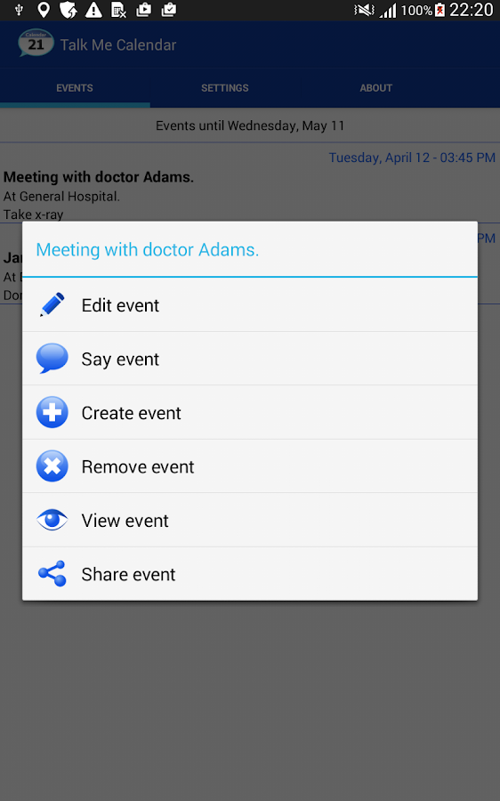 Talking Calendar Reminder app- screenshot