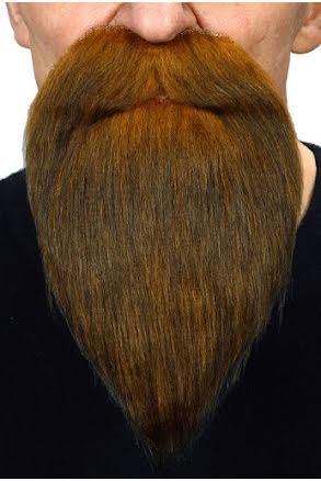 Långt skägg med mustasch, brun