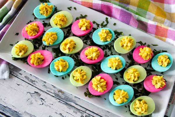 A Tray Of Colored Deviled Eggs Ready To Serve.