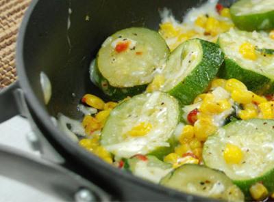 Cheesy Zucchini Corn Stir Fry Recipe