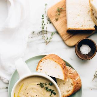 Vegan Roasted Garlic Cauliflower Soup.