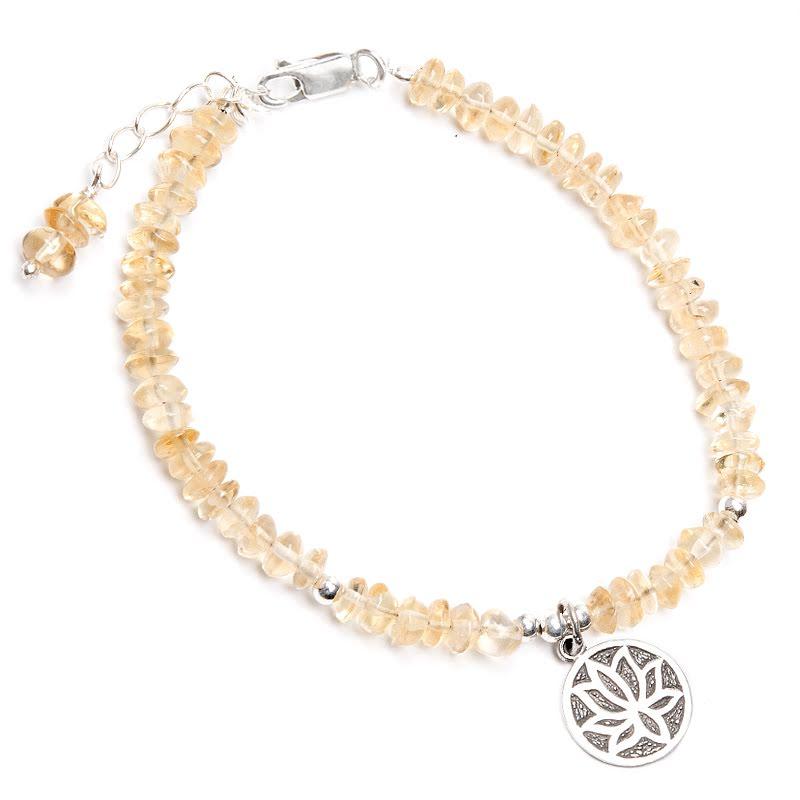 Citrin, armband med Lotusberlock