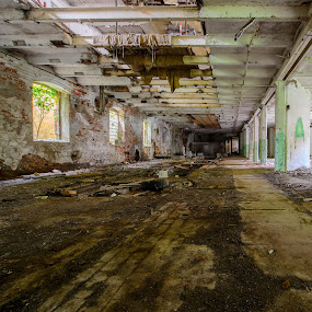 Old Green-orange Hall by Matizki Blixten - Buildings & Architecture Decaying & Abandoned ( urban exploration, paper mill, industrial, germany, industry, decay, abandoned )