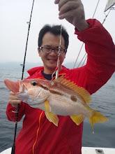 """Photo: お久しぶりの""""シオタさん""""!最初のお魚は、""""ハシグチウオ""""・・・ガクッ!"""