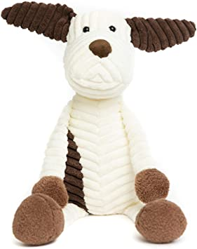"""Stuffed Animal Dog Plush Toy Ultra Soft, Perfect for Baby, Children, Kids, Adult, Hand Made, Safe with Corduroy Body, with Organic PP Cotton 14"""" Armspan, 16"""" Tall"""