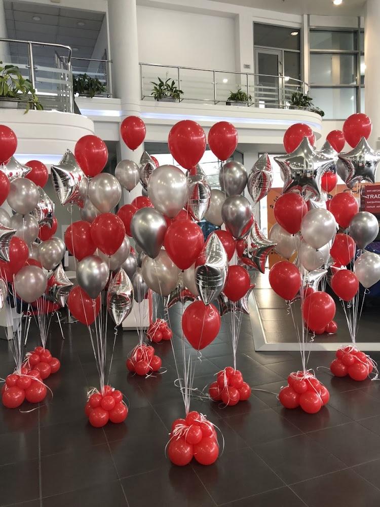 фото и картинки оформления шарами первом этаже