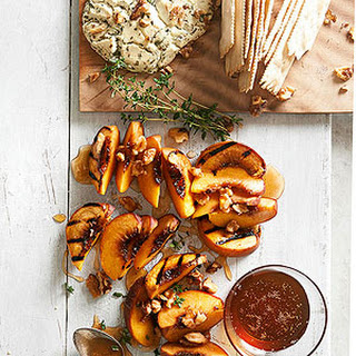 Plank-Smoked Peaches and Goat Cheese