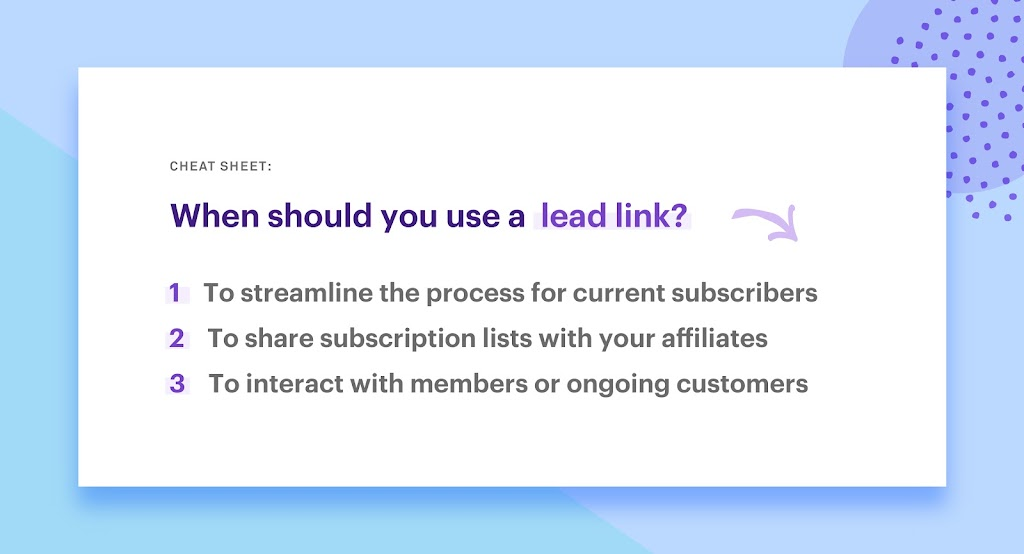 tips for using a lead link