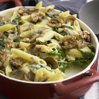 Four Cheese Pasta with Mushrooms, Spinach and Walnuts.
