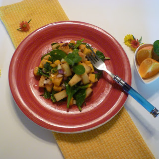 Tropical Fresh Salad with Grilled Mangoes and Pineapple tossed with Spiced Citrus Vinaigrette Dressing