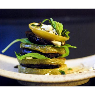 Roasted Green Tomatoes and Eggplant Stacks