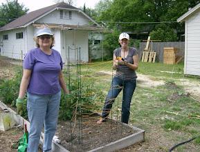 Photo: Kelly, Patti and the new pole bean plot 4/17/10