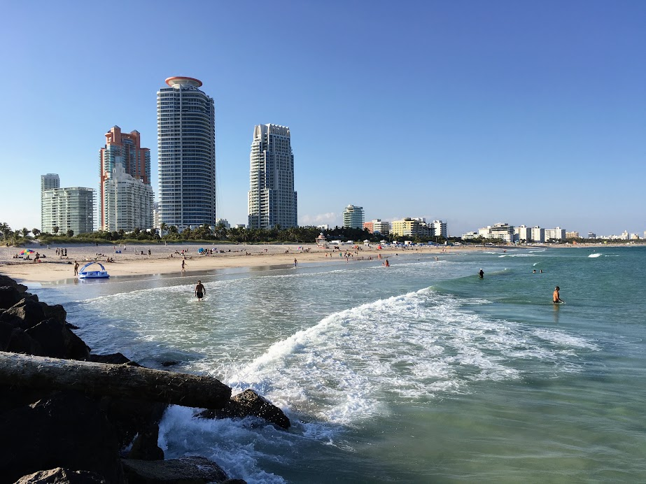 Miami Beach. Look at that view and notice how shallow the water is.
