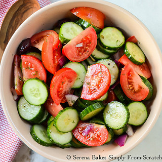 Tomato Cucumber and Olive Salad