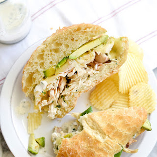 Pulled Chicken Sandwich with Creamy Ranch Sauce.
