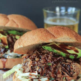 Honey Balsamic Pulled Pork Sandwiches with a Lime Cabbage Coleslaw.