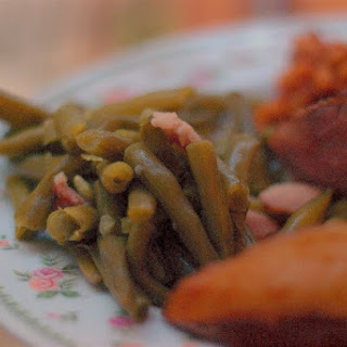 Southern Style Green Beans and Bacon (using a pressure cooker).